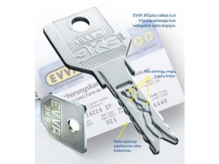 EVVA 3KSplus - 3 Curve System spyna su apvaliu cilindru