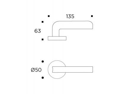 Prabangi durų rankena Convex SERIES 2205, matinis varis